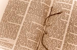 Eyeglasses on the Bible