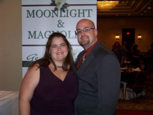 Kristi and her husband at the M&M conference for the Maggies announcements.