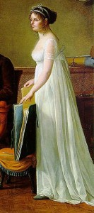 Constance Mayer 1801, free flowing white dress