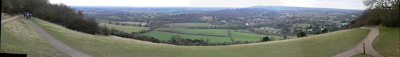 Source: Wikicommons. Panoramic View of Box Hill