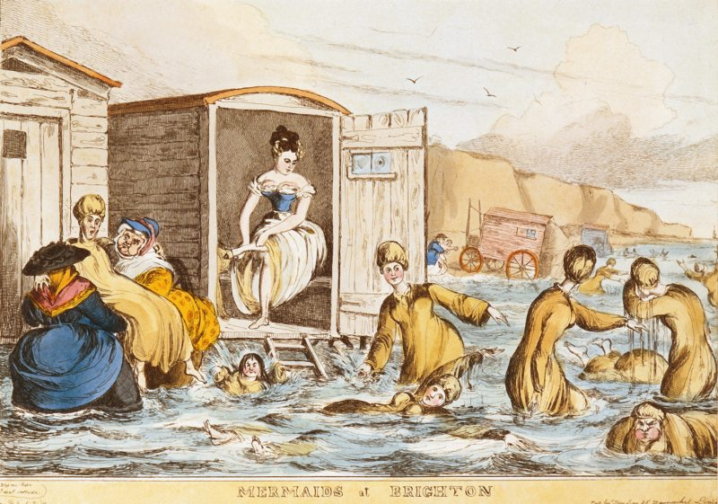Mermaids at Brighton - a group of women seabathing