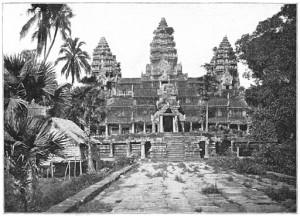 Angkor Wat with trees and Native huts