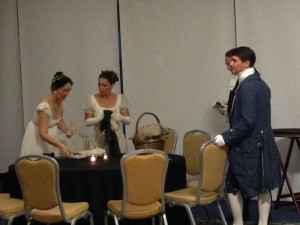 The professional Regency Dancers getting ready to teach the steps to the dances.