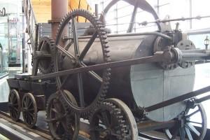 An early steam powered train engine