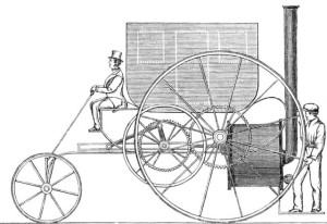 Drawing of a steam powered carriage