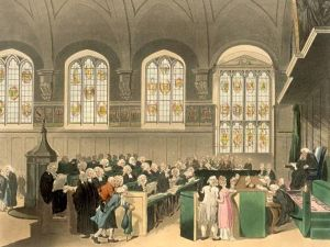 Early 19th Century painting of the Court of Chancery, via wikimedia commons