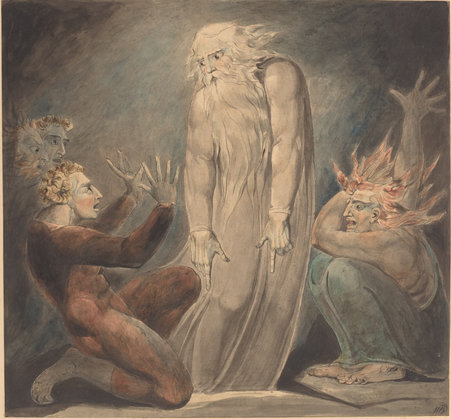 William Blake (British, 1757 - 1827 ), The Ghost of Samuel Appearing to Saul, c. 1800, pen and ink with watercolor over graphite, Rosenwald Collection